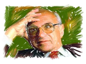 Illustration of Milton Friedman by Jocelyne Leger