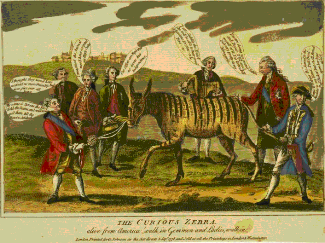 British political cartoon from 1778