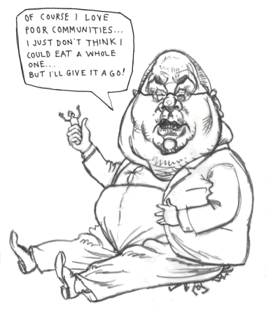 Caricature of a heartless conservative