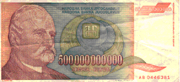500 billion dinar bill from Yugoslavia - circa 1994