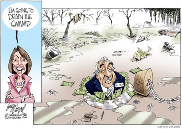 Charlie Rangel lies at the bottom of the Pelosi Swamp