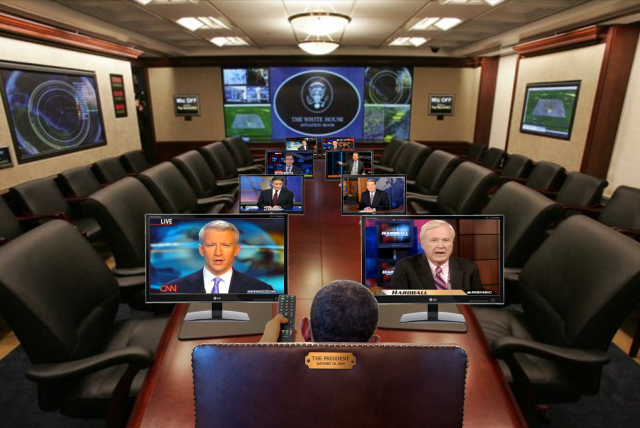 The Remote Control President conducting a cabinet meeting