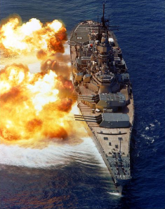 A Battleship Firing Broadside Salvos