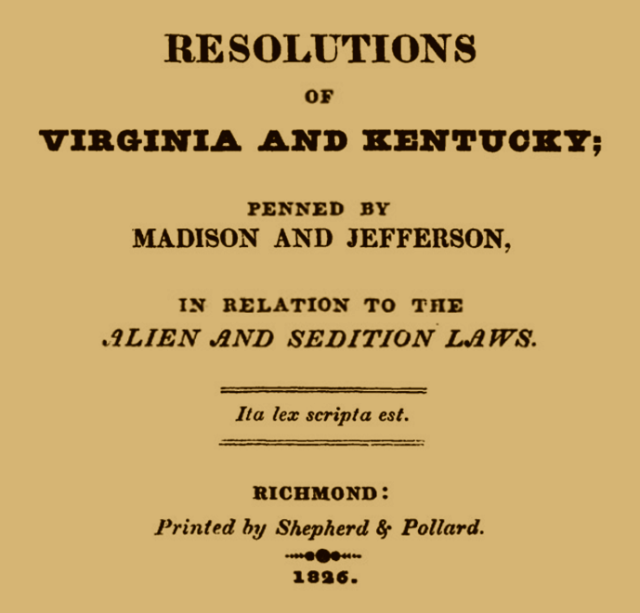 Resolutions of Virginia and Kentucky - Shepherd and Pollard cover page