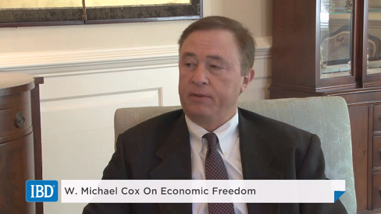 W Michael Cox on Economic Freedom at IBD