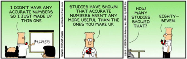 Dilbert makes numbers up